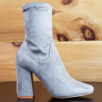"Cape Robbin Light Gray Fabric Ankle Boot - 3.5"" Block Heel"