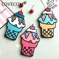 Cartoon 3D Ice Cream Soft Silicon Phone Back Cover Phone Case For iPhone 5 5S SE 6 6S 6Plus 6SPlus 7 7 Plus Coque
