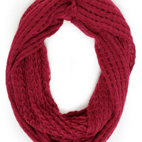 Ring Around the Cozy Wine Red Infinity Scarf