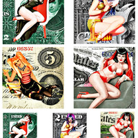 """pinup girls on money pin ups clip art 3.8"""" and 2 inch squares digital download COLLAGE SHEET printables dollar bills currency coasters tiles"""