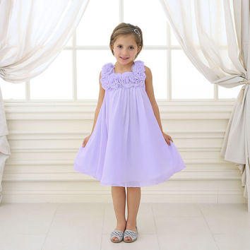 Lovely Lilac Chiffon Dress with 3D Rosettes