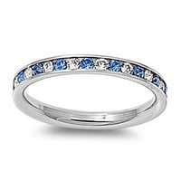 Stainless Steel Eternity Blue and Clear Cz Wedding Band Ring 3mm (3,4,5,6,7,8,9,10) Comes with Free Gift Box (8)