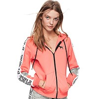 Victoria's Secret Pink Fashion Zipper Hooded long sleeved sweater stitching and female Pink