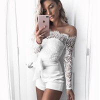 Fashion Sexy Lace Splicing Show Thin Long Sleeve Romper