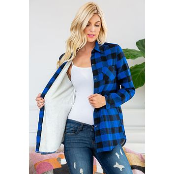 Sherpa Lined Plaid Flannel Top