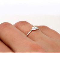 Sterling Silver Leaf Ring One Simple 1mm wave by ScarlettJewelry