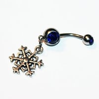 Snowflake Belly Button Ring, Christmas Jewelry, Navel Ring, Belly Piercing, Winter Jewelry