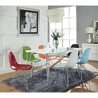 Simplicity Dining Table and Wire Eiffel Chairs Set