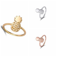 Jisensp 2016 New Fashion Cute Pineapple Rings Simple Funny Outline Fruit Rings Lovely Ananas Rings for Women Party Gift R142