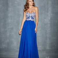 (PRE-ORDER) Night Moves by Allure 2014 Prom Dresses - Royal Chiffon & Beaded Strapless Prom Gown