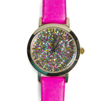 Geneva Platinum Glitter Confetti Dial Watch - Bright Pink and Gold