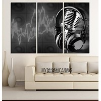 Music Studio Canvas Print Headsets and Microphones Art Canvas Printing Framed Gicle Wrapped