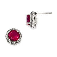 Cheryl M Sterling Silver CZ And Created Ruby 12mm Round Halo Earrings