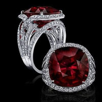 AMAZING 12.25CTW RED RUBY 925 STERLING SILVER ENGAGEMENT AND WEDDING RING