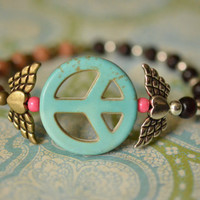 Winged Heart & Howlite Peace Sign Stretch Bracelet