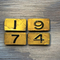1974 - Vintage Metal Numbers - Yellow Clip-On Numbers - Industrial - Assemblage - Jewelry Making