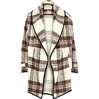 River Island Womens Cream check boucle slouchy jacket