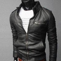 Fashion handsome slim three-dimensional coats man's oblique zipper men's motorcycle leather jackets men free shipping