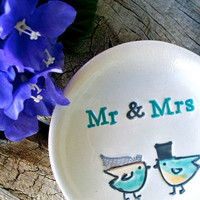 Lovebird Couple Custom Wedding Ring Dish, Ring Bowl, Wedding Gift, Ceramic Bowl