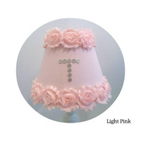 Shabby Pink Chiffon Rosettes & Fabric Lamp Shades - with or without Initial