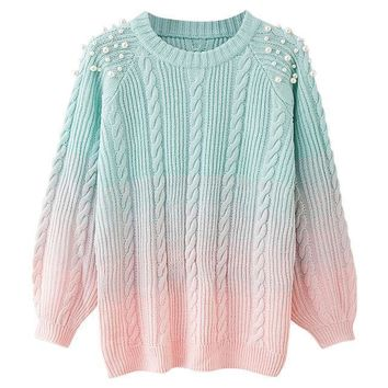 Pearl Beaded Pastel Aqua to Pink Gradient Warm Knit Sweater