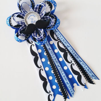 Mustache Baby Shower Corsage, It's A Boy Mommy to Be Pin, Grandma to Be Pin, Baby Boy Shower Decor, Aunt to Be Pin, Little Man Shower