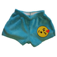 Made with Love and Kisses Girl's Fuzzy Boxer Shorts - Emoji Wink Turquoise
