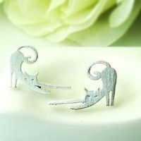 Simple Lazy Cat Earrings Kitty Animal Jewelry Unique Gold Silver gift idea