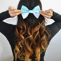 Mint Ombre Hair Bow - Dimeycakes - Hair Bows, Cases, & Apparel
