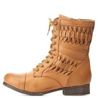 Bamboo Basket-Woven Combat Booties by