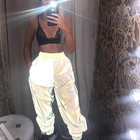 High waist pants flash reflective jogger pants women pantalon femme spring women casual gray solid streetwear trousers