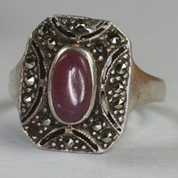 Vintage Lavender Gemstone Ring Marcasite Sterling Art Deco Style