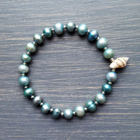 Blue Freshwater Pearl & Natural Shell Beaded Bracelet