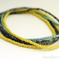 Set of Five Seed Bead Stretch Bracelets in Yellow Seafoam and Teal, Stretchy Unisex Jewelry, Summer Beach Accessory