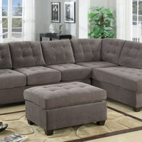 F7139 - Charcoal Waffle Suede Sectional Sofa - Furniture2Go