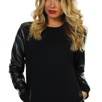 Mikkusu Women PU Leather Sleeve Crewneck
