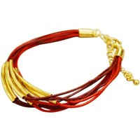 Leather Bracelet Gold Plated Trim - Red/Maroon