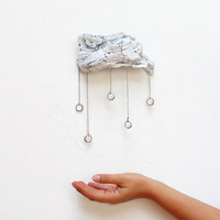 Driftwood Cloud with Vintage Crystal Raindrops - Wall Hanging - Medium