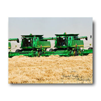 In Formation Combine Green Yellow Wheat Field Large Wall Home Decor Photography Print Man Cave Decor Print Unique Fathers Day Gift For Him