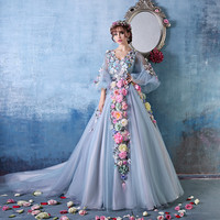 2016 Stunning With Sleeves Princess Flowers Puffy Prom Dresses Court Train Dinner Costume Evening Dress Party Dresses
