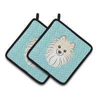 Checkerboard Blue Pomeranian Pair of Pot Holders BB1145PTHD