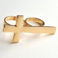 Vintage Jewelry Cross Two Finger Ring Gold Tone Art Deco Punk Gothic