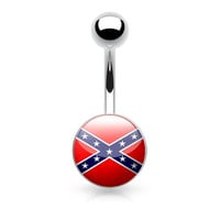 Rebel Flag Logo Belly Ring Conferderate 14ga Surgical Steel Navel Ring