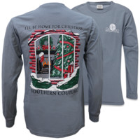 Southern Couture Be Home For Christmas Holiday Comfort Colors Long Sleeve T-Shirt