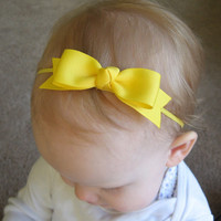 Yellow Bow Headband - Skinny Elastic Headband in Custom Sizes - Solid Lemon Sunny - Newborn Baby Toddler Girl