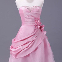 High quality sweetheart sleeveless mini A-line pink taffeta crystal flowers Prom/Evening/Party/Homecoming/Bridesmaid/Cocktail/Formal Dress