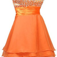 Faironly Orange Crystals Mini Length Cocktail Homecoming Dress (XS)