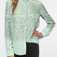 Silence & Noise Silky Printed Button-Down Blouse