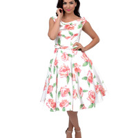 Iconic by UV Ivory & Pink Scoop Neck Belted Fleur Swing Dress