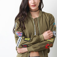 Patches Zip Up Bomber Jacket
